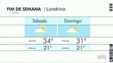 Tempo segue instável na região de Londrina - Mas são pancadas rápidas de chuva. A temperatura permanece alta.