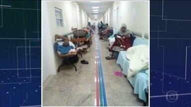 Protesto interrompe festa de aniversário do Hospital de Bonsucesso no Rio - Funcionários se manifestaram contra as condições de trabalho. Pacientes do hospital denunciaram a falta de medicamentos e de leitos.