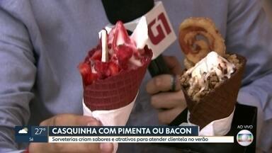 Sorvetes diferentes para conquistar a clientela no verão - Opções em São Paulo vão de rosas a bacon. Sorvete com algodão doce e confeitos também vira febre.