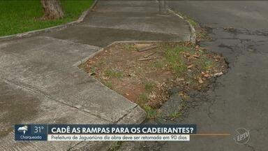 Resultado de imagem para Prefeitura de Jaguariúna não termina obra de acessibilidade em calçadas