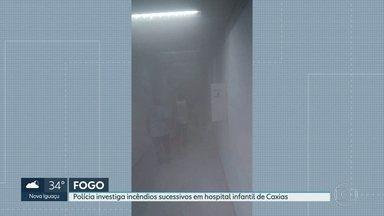 Mais um incêndio atingiu o Hospital Infantl Ismélia da Silveira, em Duque de Caxias - Foi o terceiro incêndio em menos de uma semana. Não houve feridos. Outros dois aconteceram na madrugada de segunda e na madrugada de quarta-feira. Não houve feridos. A polícia investiga se os incêndios têm alguma relação.