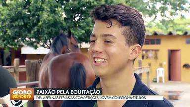 Paixão pela equitação - Felipe Teixeira começou a praticar a modalidade numa colônia de férias e hoje sonha com uma Olimpíada.