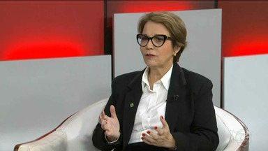 Ministra da Agricultura fala sobre demarcação de terras no país - Tereza Cristina falou sobre o assunto em entrevista ao programa da jornalista Miriam Leitão na Globonews.