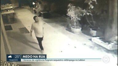 Bandidos fazem sequestro-relâmpago numa das ruas mais movimentadas do Leblon - Tudo foi flagrado por uma câmera de vigilância. A polícia afirma que uma quadrilha tem agido na região