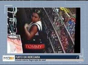 Câmeras de circuito interno de segurança flagram casal furtando produtos de comércio - Caso será investigado pela Polícia Civil.