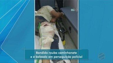 Bandido rouba caminhonete e fica ferido em confronto com a PM - Bandido rouba caminhonete e fica ferido em confronto com a PM.