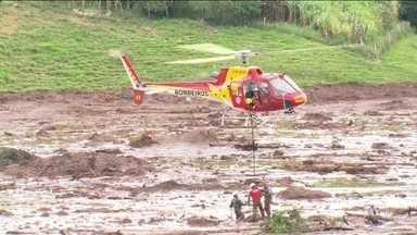 Boletim: Continua a busca por vítimas da tragédia em Brumadinho - IML informou que recebeu 14 corpos, sendo que três foram identificados. Bombeiros informam que, mesmo com a chuva, as buscas em Brumadinho continuam.
