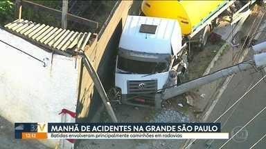 Cinco acidentes deixaram feridos e complicaram o trânsito na Grande São Paulo - A maioria deles envolveu caminhões.