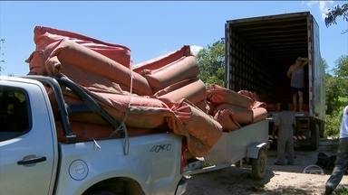 Vale começa a instalar barreiras de contenção no rio Paraopeba - As barreiras servem para evitar que os rejeitos de minério cheguem a região de Pará de Minas e atrapalhem o abastecimento de água.
