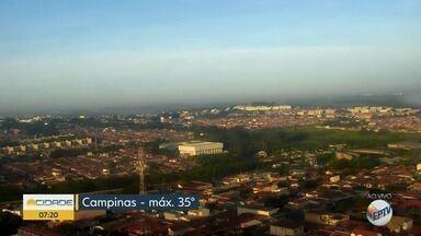 Confira a previsão do tempo para Campinas e região nesta quinta-feira (31) - Calor continua, máxima de 35° C.