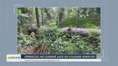 Madeira extraída ilegalmente é apreendida no interior de Rondônia - Ação foi na aldeia indígena Rio Lage na área rural de Nova Mamoré