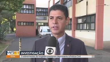 Cinco sobreviventes da tragédia de Brumadinho prestaram depoimento à Polícia Civil - 99 mortos, 57 deles identificados e 259 desaparecidos.