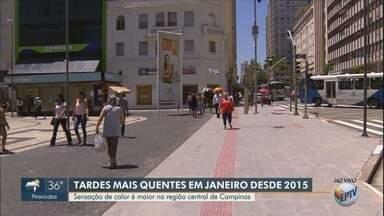 Mês de janeiro registra as tardes mais quentes desde 2015 em Campinas - Segundo a Somar Meteorologia, este é o mês de janeiro com as tardes mais quentes desde 2015. Descubra o que pode causar o aumento do calor e o efeito gerado no corpo humano.