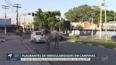 Flagrantes mostram irregularidades de motoristas nas obras do BRT em Campinas - Abuso de motoristas e motociclistas piora a situação nas obras do BRT. Flagrantes foram feitos nas avenidas Rui Rodrigues e Amoreiras.