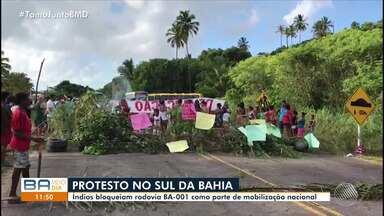 Índios da tribo Tupinambá fecham a BA-001 em protesto no sul do estado - O protesto é nacional, contra as mudanças na Funai; confira os detalhes.