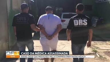Polícia pede à justiça prorrogação da prisão de acusado de matar médica - Juiz pode converter a prisão de Rafael Henrique Dutra em preventiva, que é aquela que não tem prazo para acabar. Em depoimento à polícia, ele disse que pagou R$ 5 mil a um comparsa que enforcou Gabriela Cunha com uma corda.