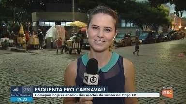 Ensaios das escolas de samba começam nesta sexta (1) na Praça XV, em Florianópolis - Ensaios das escolas de samba começam nesta sexta-feira na Praça XV de Novembro, em Florianópolis