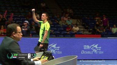 O ponto final de Hugo Calderano contra Marcelo Aguirre na Copa Pan-Americana de tênis de mesa