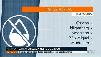 Vai faltar água em vilas do bairro Nova Rússia em Ponta Grossa neste domingo (10) - Veja em quais localidades haverá desabastecimento.