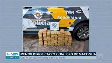 Adolescente é apreendido com mais de 90 quilos de maconha - Flagrante foi realizado pela Polícia Militar Rodoviária, em Teodoro Sampaio.