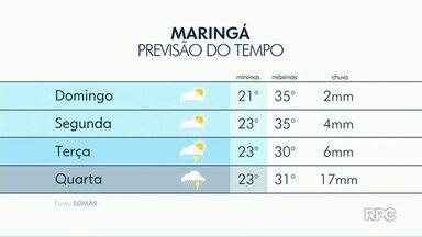 Massa de ar frio traz chuva ao Paraná - Para Maringá tem previsão de pancadas isoladas já para este domingo (10).