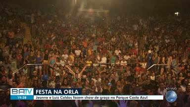 Shows gratuitos atraem multidão ao Parque Costa Azul - Luiz Caldas e a cantora Jeanne se apresentam no local.