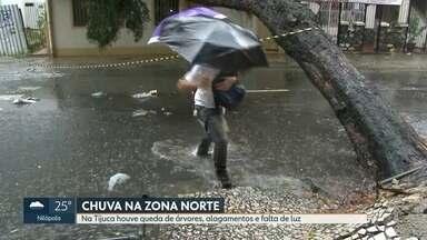 Bairros da Zona Norte são os mais atingidos pela chuva - Faltou luz, houve queda de árvores e alagamentos.