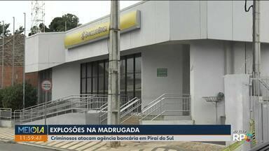 Bandidos explodem agências bancárias de Piraí do Sul - Hóspede de hotel próximo ao banco ficou assustada e se feriu ao pular do 2º andar.