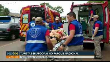 Turistas que se afogaram no Rio Iguaçu durante passeio no Parque Nacional deixam hospital - Família fazia rafting quando aconteceu o acidente.