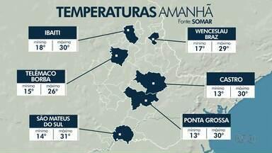 As temperaturas voltam a subir nesta quinta-feira (14) na região de Ponta Grossa - Há risco de chuva para o período da tarde.