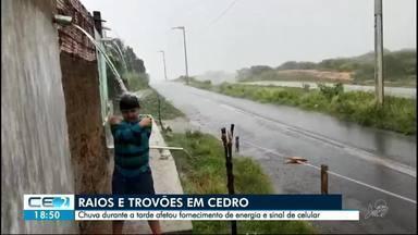 Chuva com raios e trovões em Cedro - Pluviômetro de morador identificou chuva de 40mm em 1 hora