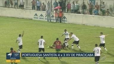 Série A2: XV de Piracicaba sofre derrota contra a Portuguesa Santista - XV de Piracicaba reage, mas no final do jogo Portuguesa Santista marca o quarto gol da vitória.