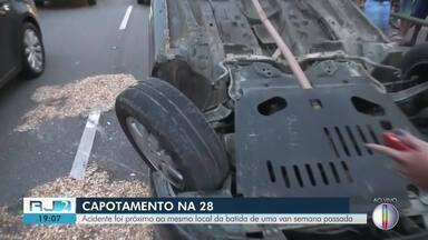 Jovem fica ferida em capotagem na Av. 28 de Março, em Campos, no RJ - Assista a seguir.