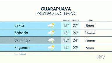 Chuva continua na região de Guarapuava - O sol pode aparecer durante o dia entre nuvens.
