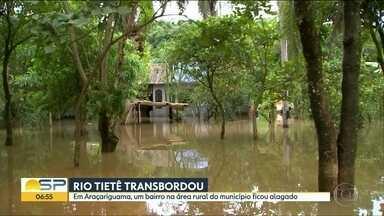 Rio Tietê transborda no interior - As cidades de Salto e Araçariguama tiveram vários pontos inundados