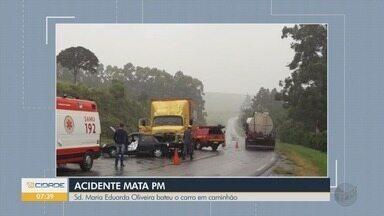 Policial militar morre após bater carro em caminhão na MG-179, em Machado, MG - Policial militar morre após bater carro em caminhão na MG-179, em Machado, MG