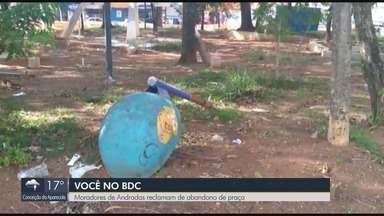 Moradores de Andradas reclamam de abandono de praça - Moradores de Andradas reclamam de abandono de praça