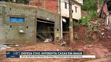 SP1 - Edição de segunda-feira, 18/02/2019 - Enterradas sua das quatro crianças que morreram em desmoronamentoem Mauá. Chuva causa desabamento dentro de condomínio em São Mateus. Três escolas em Santos André estão fechadas por vandalismo.
