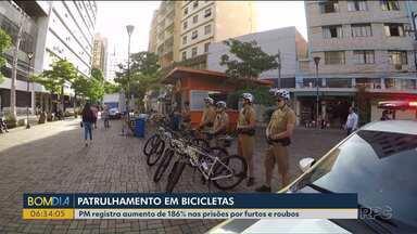 Policiamento com bicicletas faz aumentar número de prisões em grande cidade do Paraná - As estatísticas revelam bons resultados e a população comemora a maior sensação de segurança em Londrina.