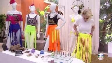Aprenda a fazer uma saia divertida para o Carnaval - Ana Maria Braga mostra o passo a passo para cortar o tecido e montar o visual