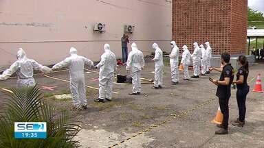Simulação de desastre aconteceu neste sábado em Aracaju - Foram treinados profissionais de três estados do Nordeste.