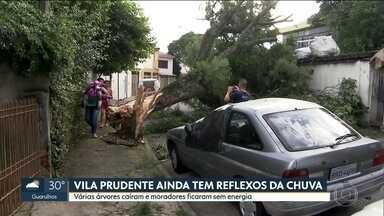 Moradores da Vila Prudente ainda sofrem os efeitos da chuva de ontem - Árvores caíram e muita gente ficou sem luz. A Vila Prudente foi o bairro onde mais choveu: 11 mm em 1 hora.