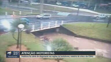 Prefeitura faz alerta de alagamento em São Carlos - Motoristas devem redobrar a atenção nas regiões do kartódromo, rotatória do Cristo e da CDHU