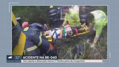 Van capota e deixa pelo menos 17 feridos perto de Congonhas - Pelo menos 17 pessoas ficaram feridas em um acidente com uma van na BR-040, na manhã desta quinta-feira (28), perto de Congonhas, na Região Central de Minas.