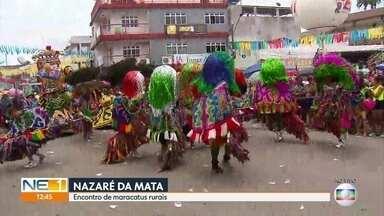 Encontro de maracatus rurais colore o carnaval em Nazaré da Mata - Grupos se apresentam no centro da cidade nesta segunda-feira (4).