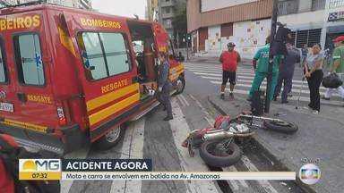 Duas pessoas ficam feridas em acidente no Centro de Belo Horizonte - Um carro e uma motocicleta bateram na esquina da Avenida Amazonas com a Rua Curitiba.