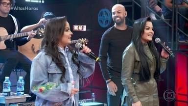 Maiara & Maraísa começam programa cantando 'Sorte que Cê Beija Bem' - Dupla sertaneja começa o programa cantando