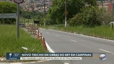 Novo trecho da John Boyd Dunlop será interditado para avanço nas obras do BRT - Interdição começa a partir desta terça-feira (12), na altura do Jardim Nova Esperança e Jardim Rossin, em Campinas (SP).