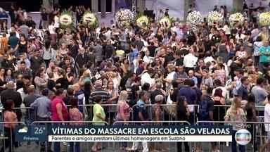 Parentes e amigos prestam últimas homenagens às vítimas do massacre de Suzano - Seis vítimas estão sendo veladas em um ginásio da cidade.