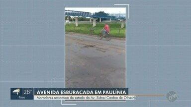 Moradores reclamam de avenida esburacada em Paulínia - Estado da Av. Sidnei Cardon Oliveira prejudica motoristas que trafegam pelo local.